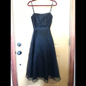 Vintage Black Polka Dot Mesh Strapless Maxi Dress